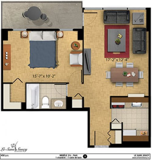 Seecliq appartements 3 louer for Plan appartement 1 chambre